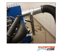 Dynoteg adjustable support for exhaust gas extraction engine dyno room